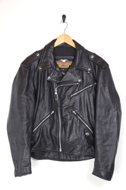 2000s Men's Harley Davidson Leather Biker Jacket - Black M
