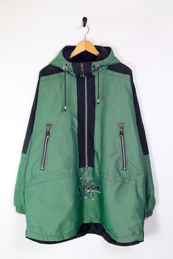 1990s Men's Ski Hooded Pullover Jacket - Green XL