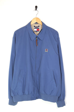1990s Men's Tommy Hilfiger Crest Harrington Jacket - Blue L