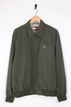 1990s Men's Tommy Hilfiger Crest Harrington Jacket - Green M