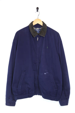 1990s Men's Ralph Lauren Cord Collar Harrington Jacket - Blue XL