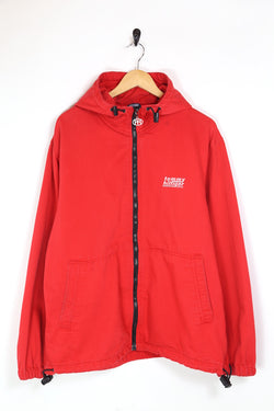 1990s Men's Tommy Hilfiger Badge Hooded Jacket - Red L