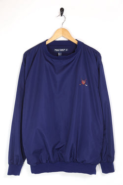 1990s Men's Ralph Lauren Polo Badge Pullover Jacket - Blue M