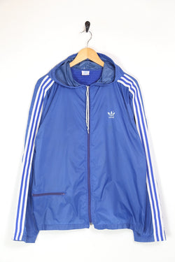1980s Men's Adidas Hooded Jacket - Blue L