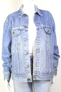 1980s Women's Lee Denim Jacket - Blue XL