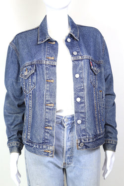 1980s Women's Levi's Denim Trucker Jacket - Blue L