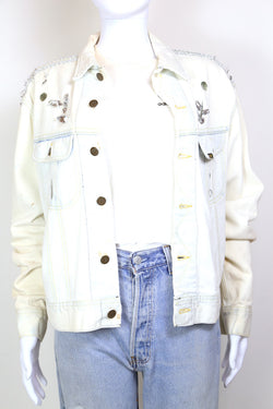 1980s Women's Lee Acid Wash Denim Jacket - White L