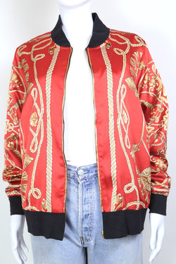 2000s Women's Chain Printed Bomber Jacket - Red L