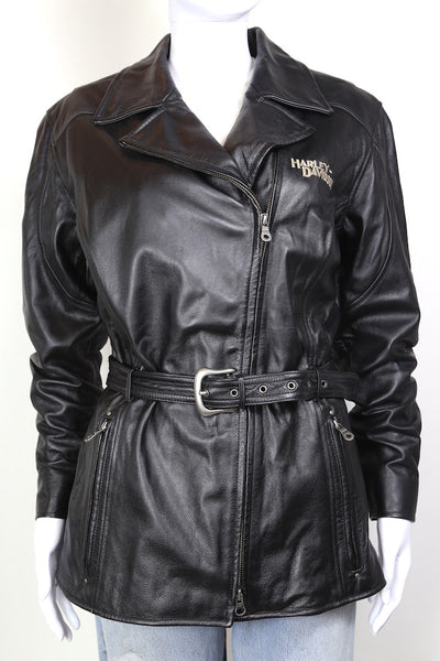 2000s Women's Harley Davidson Leather Biker Jacket - Black M