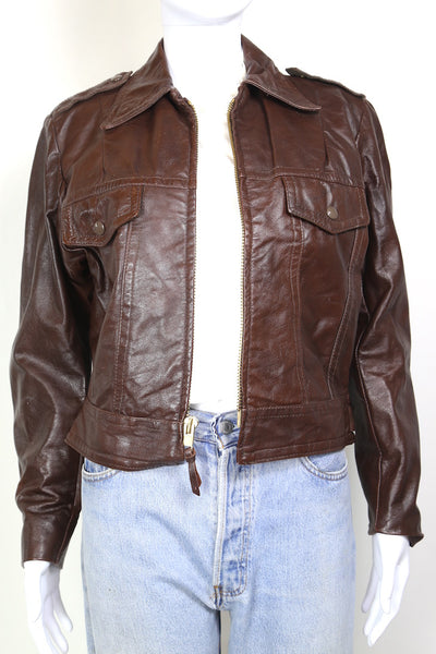 1970s Women's Harley Davidson Leather Jacket - Brown S
