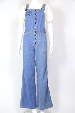 1970s Women's Blue Denim Flared Dungarees - Blue XS