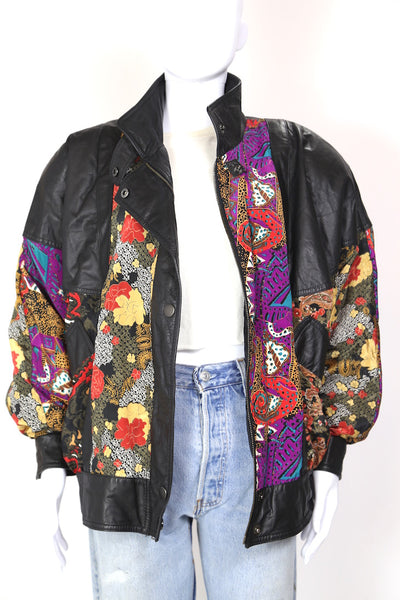 1980s Women's Leather Floral Bomber Jacket - Multi L
