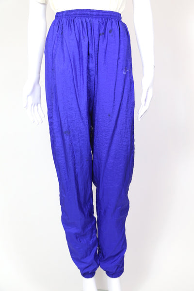 1990s Women's Nike Shell Suit Track Pants - Blue 30W