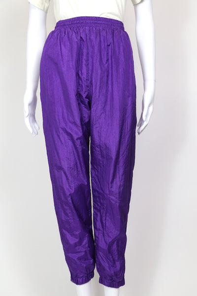 1990s Women's Shell Suit Track Pants - Purple S