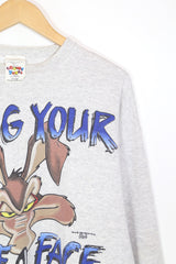 1990s Men's Looney Tunes Coyote Sweatshirt - Grey XL