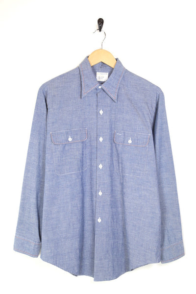 1970s Men's Denim Shirt - Blue L