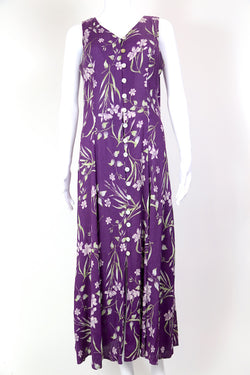 1990s Women's Floral Maxi Dress - Purple L