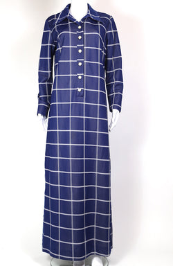 1970s Women's Checked Maxi Dress - Blue L