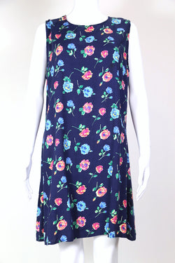 1990s Women's Floral Mini Dress - Blue XL