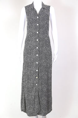 1990s Women's Polka Dot Maxi Dress - Black S