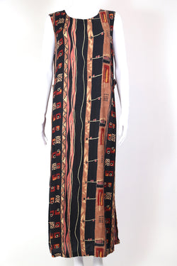 1990s Women's Abstract Print Maxi Dress - Multi L
