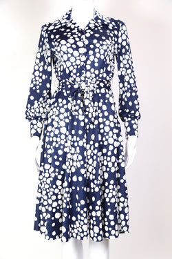1970s Women's Polka Dot Shirt Dress - Blue S