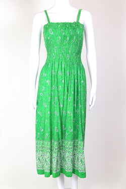 1990s Women's Shirred Paisley Midi Dress - Green S