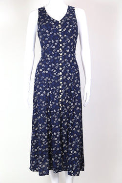 1990s Women's Floral Maxi Dress - Blue S