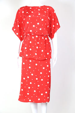 1980s Women's Polka Dot Peplum Dress - Red M