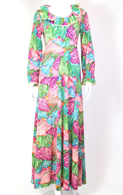 1970s Women's Abstract Maxi Dress - Multi S