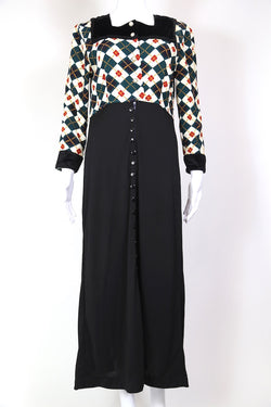 1980s Women's Checked Maxi Dress - Multi S