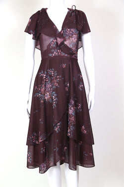 1970s Women's Wrap Floral Midi Dress - Purple S