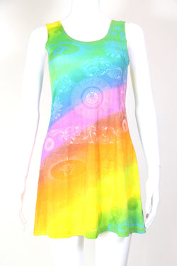 1990s Women's Patterned Rainbow Mini Dress - Multi M