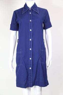1970s Women's Shirt Dress - Blue S