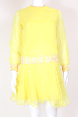 1960s Women's Pleated Mini Dress - Yellow XS