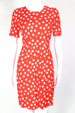 1980s Women's Polka Dot Mini Dress - Red S