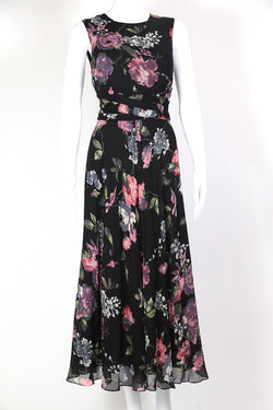 1990s Women's Floral Maxi Dress - Black S