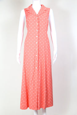 1990s Women's Polka Dot Maxi Dress - Pink L