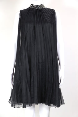 1960s Women's Sheer Pleated Dress - Black S