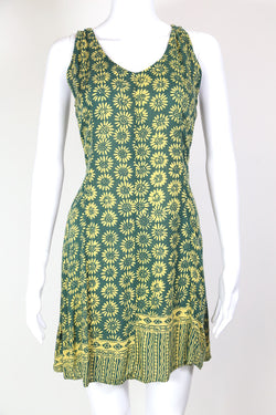 1990s Women's Sunflower Mini Dress - Green S
