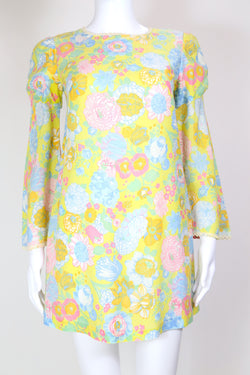 1970s Women's Floral Mini Dress - Multi XS