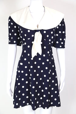 1980s Women's Polka Dot Mini Dress - Blue M