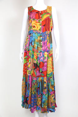 1990s Women's Abstract Print Maxi Dress - Multi M