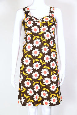 1960s Women's Floral Mini Dress - Brown S