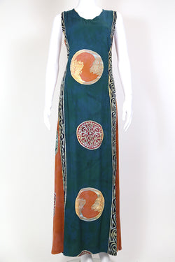 1990s Women's Abstract Maxi Dress - Multi L