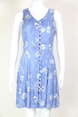 1990s Women's Floral Mini Dress - Blue S