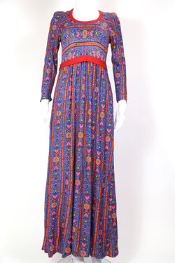 1970s Women's Floral Maxi Dress - Blue XS