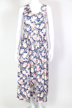 1980s Women's Floral Pinafore Midi Dress - Blue S
