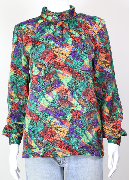 1980s Women's Abstract High Neck Blouse - Multi M