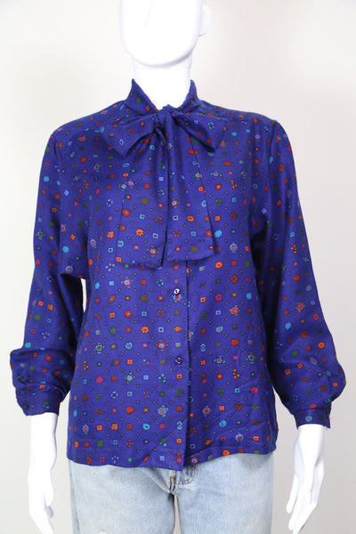 1980s Women's Abstract Print Tie Neck Blouse - Blue M